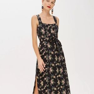 Topshop linen floral midi dress US8